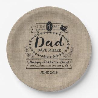 Dia dos pais feliz número 1 um logotipo do prato de papel