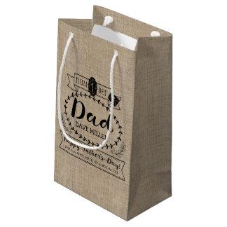 Dia dos pais feliz número 1 um logotipo do sacola para presentes pequena