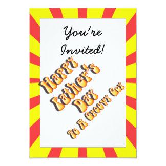 Dia dos pais retro amarelo para uma cara Groovy Convite 12.7 X 17.78cm