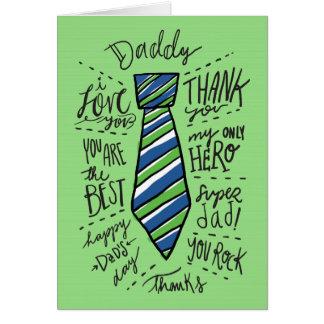 """Dia dos pais - verde - laço do """"pai"""" cartão comemorativo"""