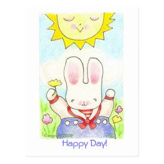 Dia feliz! cartão do coelho do marinheiro