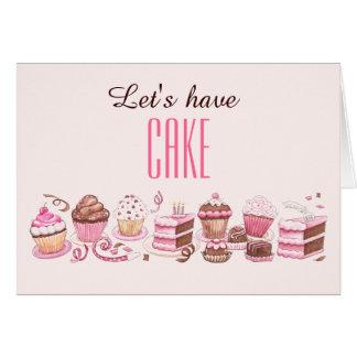 Dia feliz do bolo ao cartão de aniversário do