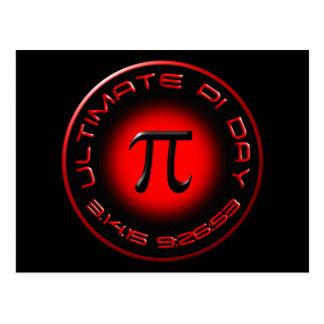 Dia final 2015 do Pi 3.14.15 9:26: 53 (vermelho) Cartão Postal
