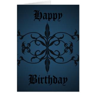 Dia gótico azul extravagante do aniversário a cartão