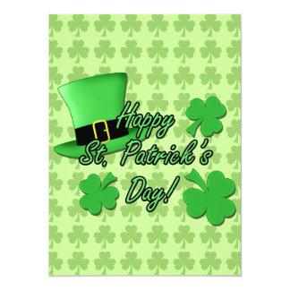 Dia legal do St. Patricks dos trevos do chapéu Convite 13.97 X 19.05cm