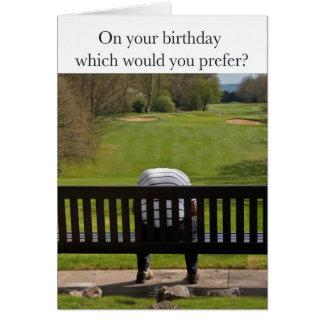 Dia mau no cartão de aniversário do campo de golfe