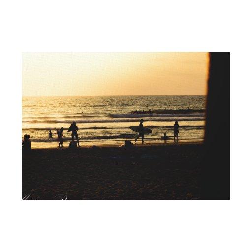 Dia na praia impressão de canvas envolvida