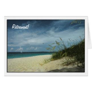 Dia no cartão da aposentadoria da praia