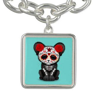 Dia vermelho da pantera preta inoperante Cub Charm Bracelets