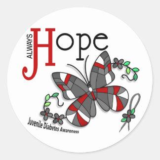 Diabetes juvenil da borboleta do vitral adesivo