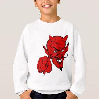 Diabo que aponta o personagem de desenho animado agasalho