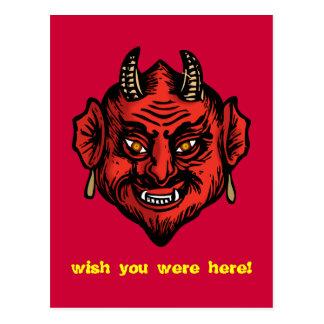 Diabo vermelho de Fanged com cartão dos chifres