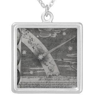 Diagrama astrológico do cometa colar banhado a prata