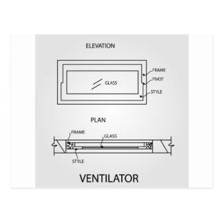 Diagrama de um ventilador que mostra o plano e a cartão postal