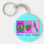 Diálise do amor da paz chaveiros