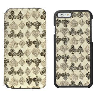 Diamante bege Antiqued envelhecido do coração do Capa Carteira Incipio Watson™ Para iPhone 6