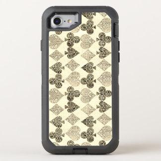 Diamante bege Antiqued envelhecido do coração do Capa Para iPhone 7 OtterBox Defender