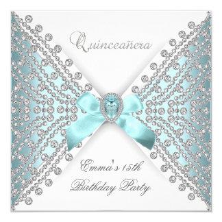 Diamante branco azul do falso da 15a cerceta de convite quadrado 13.35 x 13.35cm