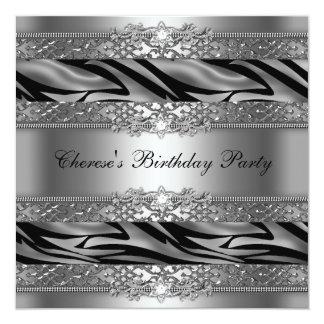 Diamante de prata da zebra da festa de aniversário convites personalizados