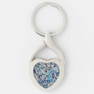 Diamante de vidro chaveiro torcido do metal do