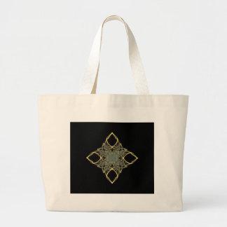 diamante do ouro do olhar do fio 3D com centro azu Sacola Tote Jumbo