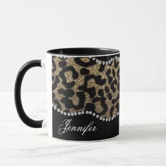 Diamante e leopardo com nome caneca