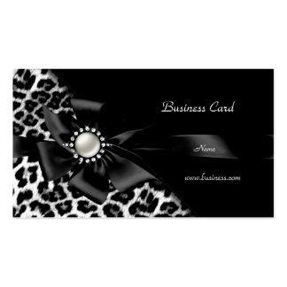 Diamante elegante da prata do preto do leopardo cartão de visita