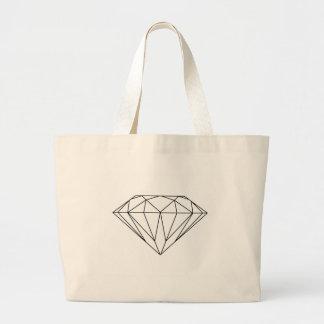 Diamante que tira moderno preto e branco sacola tote jumbo