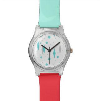 Diamante retro & Starburst de turquesa relógio do