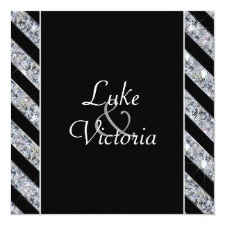 Diamante Sparkling & listras pretas que Wedding Convite Quadrado 13.35 X 13.35cm