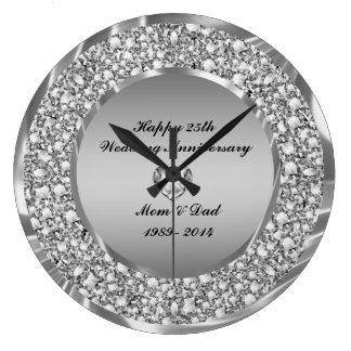 Diamantes & aniversário de casamento da prata 25o relógio para parede
