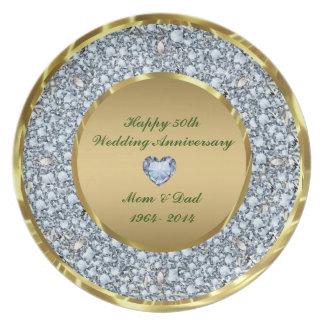 Diamantes & aniversário de casamento do ouro 50th pratos de festas