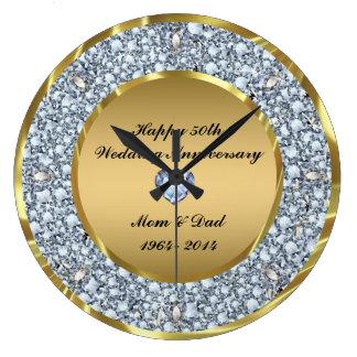 Diamantes & aniversário de casamento do ouro 50th relógios para pendurar