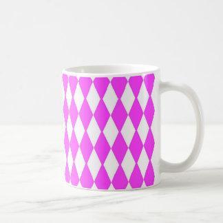 Diamantes cor-de-rosa e brancos caneca de café