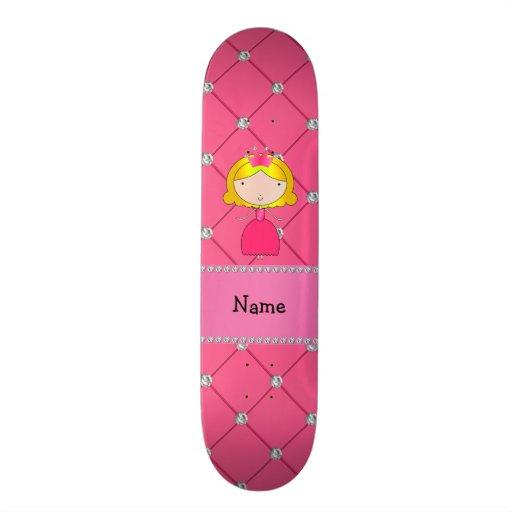 Diamantes cor-de-rosa personalizados da princesa c skateboard