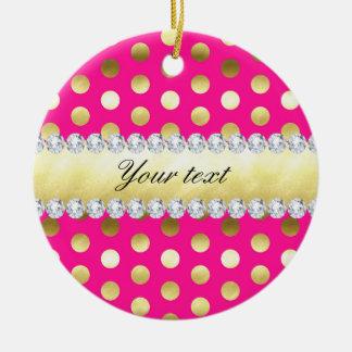 Diamantes das bolinhas da folha de ouro do rosa ornamento de cerâmica redondo