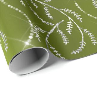 Diamantes de prata florais do verde Sparkly do Papel De Presente