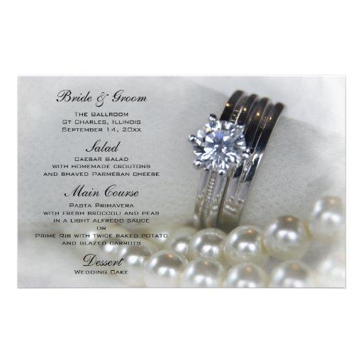 Diamantes e pérolas que Wedding o menu Papelaria