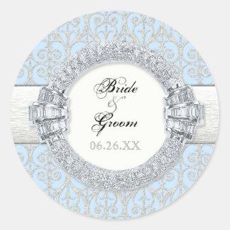 Diamantes & laço, etiquetas do favor ou selos adesivo em formato redondo