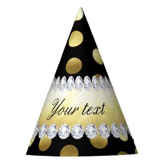 Diamantes pretos das bolinhas da folha de ouro chapéu de festa