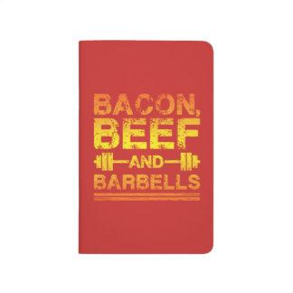 Diário Bacon, carne, Barbells - exercício do Gym