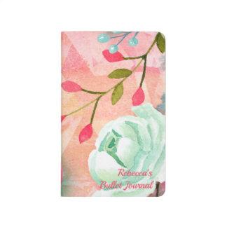 Diário Bala elegante & bonito do monograma da flor da