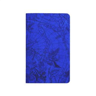 Diário Caderno de bolso azul do mapa da estrela da carta