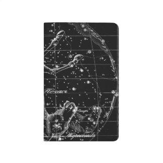Diário Caderno de bolso preto da estrela da constelação