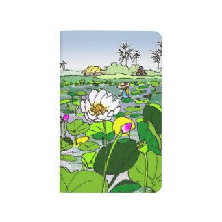 Diário Campos coloridos de Lotus do caderno de bolso