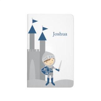 Diário Cavaleiro bonito e castelo azuis e cinzentos