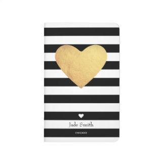 Diário Coração de ouro com listras