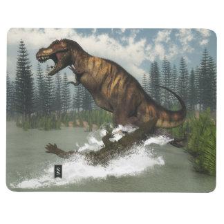 Diário Dinossauro do rex do tiranossauro atacado pelo