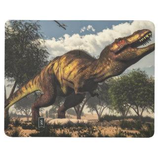 Diário Dinossauro do rex do tiranossauro que protege seus