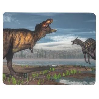Diário Dinossauros do rex e do saurolophus do